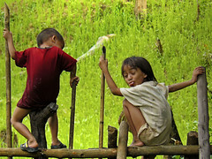 ;-) (Bn) Tags: laos vangvieng hmong paddyfields cuteboy naughtyboy sittingonthefence hmongpeople supportthemselves smallvegetablegardens greenpaddyfields stickhistongue boywithcharacter