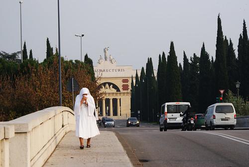 Ponte Aleardi e, sullo sfondo, il cimitero monumentale