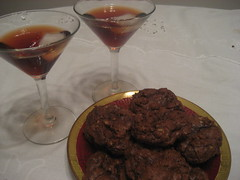 Chocolate toffee cookies and pomegranet liquor