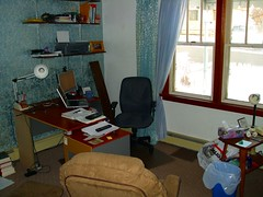 My desk area, other shelf, and windows
