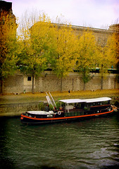 Autumn color, rive gauche (maralina!) Tags: autumn trees paris france yellow seine river foliage barge peniche
