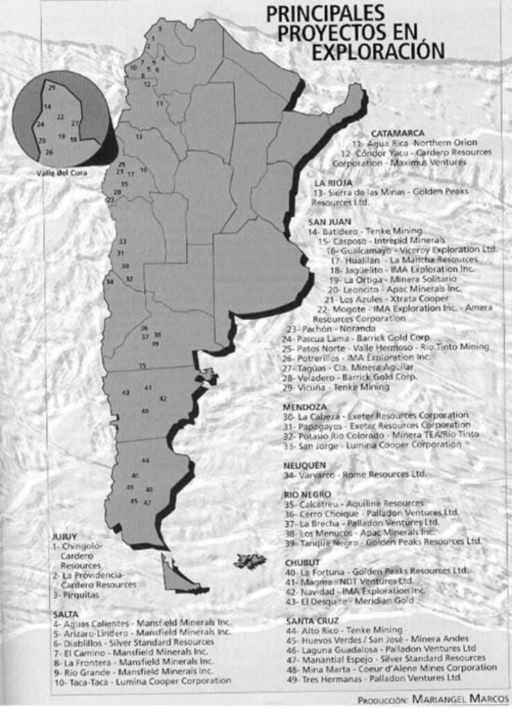 Mapa de exploración minera en Argentina