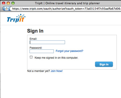 Sign In to TripIt