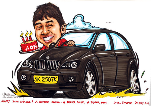 birthday boy caricature in BMW