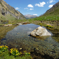 Snow melts at the Krumltalbach water spring (Bn) Tags: park blue shadow sky sun snow mountains alps nature water