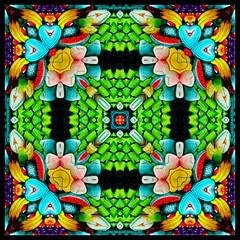 KFC8-1 (Lyle58) Tags: kaleidoscope kaleidoscopes kaleidoscopesonly kaleidoscopefun green cyan yellow gold red purple cane flowers bananas hearts lucynieto carvedwoodentable mexico mexicanart harmony balance geometric symmetry symmetrical circle circular reflective kaleidoscopic zen abstract