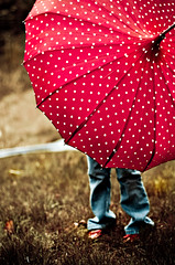 bumbershoot (cinco de kiddo) Tags: light red storm rain umbrella vintage fun happy wind polkadot interestingness3 i500 nikond300