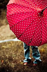 bumbershoot (cinco de kiddo) Tags: light red storm rain umbrella vintage fun happy wind polkadot interestingness3 i500 nikond300