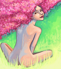 PRIMITIVE (vasylissa) Tags: pink woman green girl illustration digital photoshop spring blossom if friday lavandula