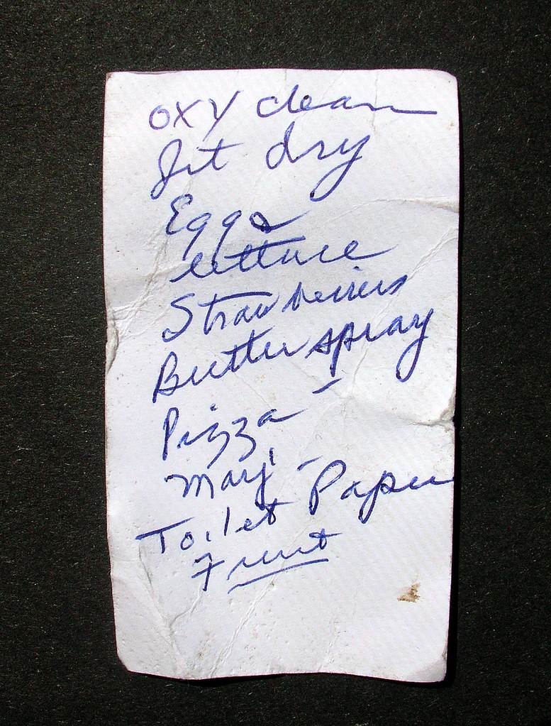 Found: Appointment Card Grocery List