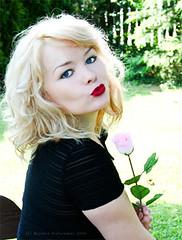 Kiss from a rose (Melanie {Inspirationszauber}) Tags: people flower colour love girl rose marilyn garden eyes kiss dress skin marilynmonroe blueeyes blonde redlips manuela blackdress