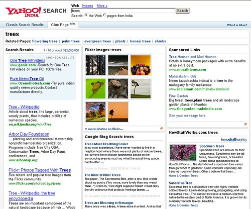 Yahoo India: Glue Pages