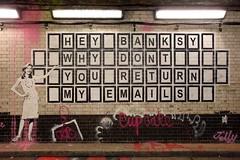 Email (Bruno Girin) Tags: uk greatbritain england london stencil unitedkingdom waterloo bandit leakestreet cansfestival heybanksywhydontyoureturnmyemails