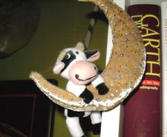 the cow jumps over the moon (moroccogirl) Tags: moon face book cow stuffedanimal nurseryrhyme thecowjumpsoverthemoon
