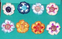 Petal Babies Rings (Missing6 / Deja Vecu) Tags: blue flower floral face recycled navy jewelry ring petal polymerclay crayon rhinestones adjustable missing6 dejavecu