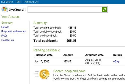 microsoft live cashback paypal ebay