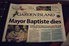 Headlines (CookieDuster) Tags: dead island hawaii newspaper mayor headline kauai carlin dies baptiste gardenisland d80