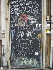 The Lion (Bodybuilding Liondancer) Tags: lion door les nyc chinatown silver tags miss17 street art graffiti jade ks newyorkcity lowereastside themagictouch hellyeah go stencil spraypaint 60 bigfoot