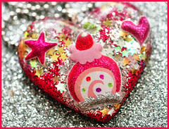 Big Juicy Jelly Roll (stOOpidgErL) Tags: red food cute love glitter silver stars gold diy necklace yummy strawberry heart handmade craft jewelry plastic kawaii resin pendant jellyroll stoopidgerl