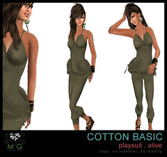 [MG fashion] Cotton Basic Playsuit (olive)