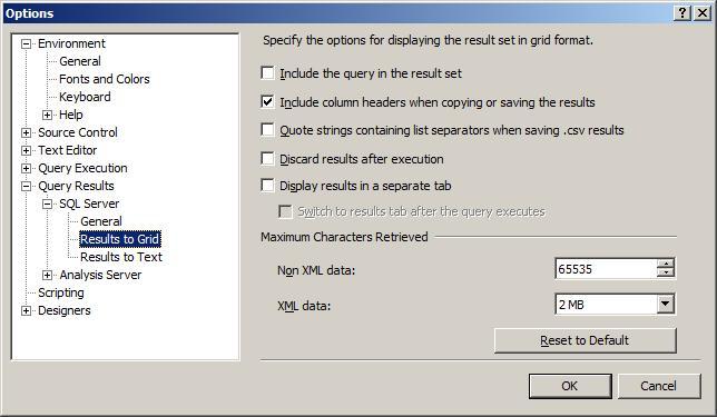 Sql Server 2k5 Options