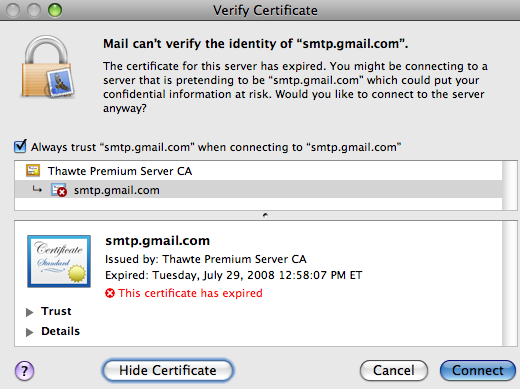 Google's Send Mail Server Security Certificate Expires