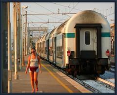 He is gone (maurococi) Tags: sunset girl train riviera tramonto liguria railway departure stazione treno ragazza ferrovia partenza albenga goldstaraward
