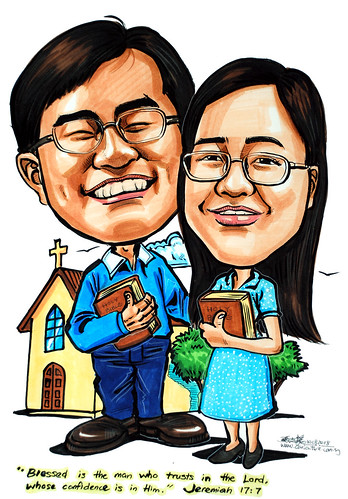Couple caricatures Christians holding Holy Bible
