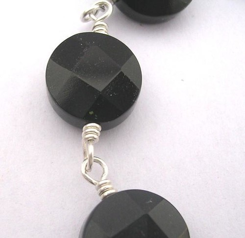 Plain yet striking - black onyx and silver bracelet - limited edition