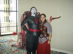 A Strange Meeting (BelleChere) Tags: friends leather costume cosplay chainmail dc08 mistersinister dragoncon2008