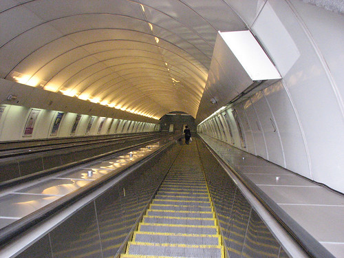 Escalator at Invalidovna station, Prague metro