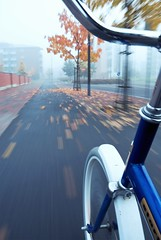 J i u u u i i ! (Prr) Tags: road city autumn trees urban orange motion blur fall bike bicycle wheel fog speed suomi finland movement action foggy tire riding similar biking handheld finnish leafs 2008 jyvskyl speeding syksy sumu kaupunki jopo ruska pyrily liike pyr vauhti lutakko syys 18200vr d80 starty lpbicycles