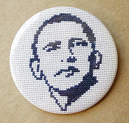 Obama Cross-Stitch Button