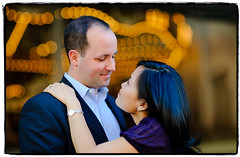 Dreaming of Carousels (Ryan Brenizer) Tags: nyc newyorkcity wedding love smile brooklyn engagement october bokeh dumbo 2008 d3 85mmf14d ryansstrangelenses elisaandmatt thebrenizereffect bokehpanorama brenizermethod