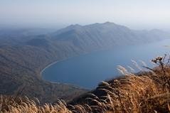 支笏湖畔を見下ろす