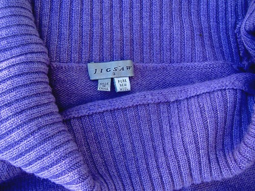 original garment - purple jigsaw pure new wool