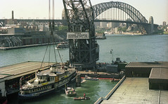 "The ""Titan Floating Crane"" lifting the ferry Karrabee at Circular Quay, Sydney Australia."