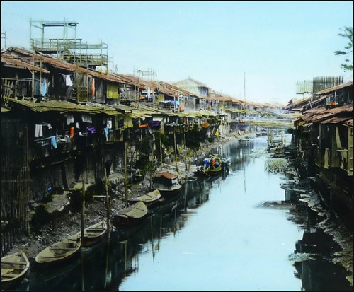 A JAPANESE SHANTY TOWN ALONG A POLLUTED, GREYWATER CANAL