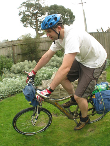 Test-riding the bike with panniers in Hamilton, New Zealand