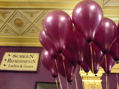 <-- this way (AnnabelB) Tags: birthday ladies cinema london film sign balloons movie play purple theatre screen haymarket brief westend gents encounter refreshments opo kneehigh liveonstage notthefilm
