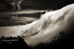 ummm... streaming fog (louie imaging) Tags: sf california city morning bridge bw fog sunrise flow dawn golden bay gate san francisco stream cityscape dynamic emotion expression marin dramatic jazz structure tsunami study area headlands fogscape anawesomeshot neroamet