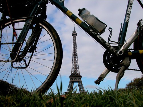 Alastair frames the Eiffel Tower. Photo: Alastair Humprherys