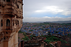 View from Merangarh Fort (Leslein) Tags: old travel blue people india streets desert cows fort decay indian urbandecay bicycles holy camel om hindu jaipur rajasthan bluecity holycow blueblueblue