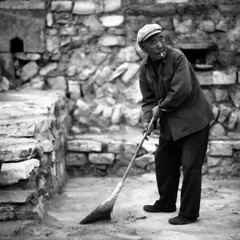 the cleaner (memetic) Tags: china portrait bw man 6x6 hat asian blackwhite tmax sto