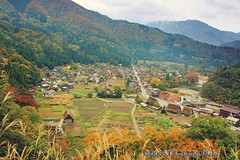 Valley Village in Fall (Cloudcastles) Tags: travel mountains fall nature japan landscape scenery village valley gifu shirakawago chubu japanesealps thatchedhouses ogimachi gasshozukuri
