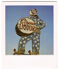 circus liquor. north hollywood, ca. 2008. (eyetwist) Tags: signs sign analog polaroid sx70 typography la daylight losangeles los neon noho angeles circus clown bluesky ishootfilm polkadots liquor socal 600 signage type letter modified alphabet analogue 2008 pola polaroid600 sanfernandovalley scaryclown liquorstore modded nofilter evilclown timezero typographic vineland landcamera northhollywood circusliquor angeleno polaroid779 779 iso640 eyetwist typographyandlettering sx70landcamera nond ishootpolaroid sx70lives sx70uses600or779