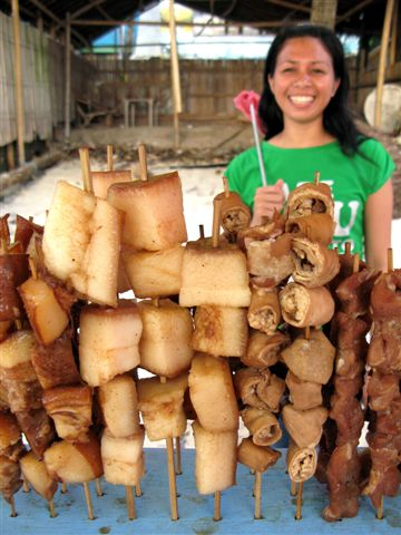 pork fat on sticks