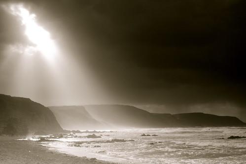 storm at sea widmouth bay cornwall