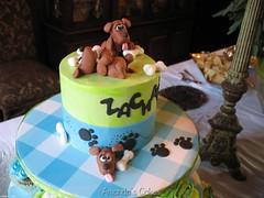 Zachary's Baby Shower Cake (mandotts) Tags: blue green dogs puppy cupcakes paw chocolate turquiose prints zack checkered carrotcake babyshower dogbones babyboy fondant zackary cupcakestand sugarpaste edibledecorations puppylovetutorial