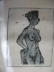Copper print of blue nude woman (Summerisle) Tags: woman nude print intaglio copperetching colorprint